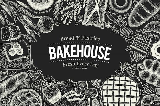 Quadro da opinião superior da padaria na placa de giz. entregue a ilustração desenhada do vetor com pão e pastelaria. Vetor Premium