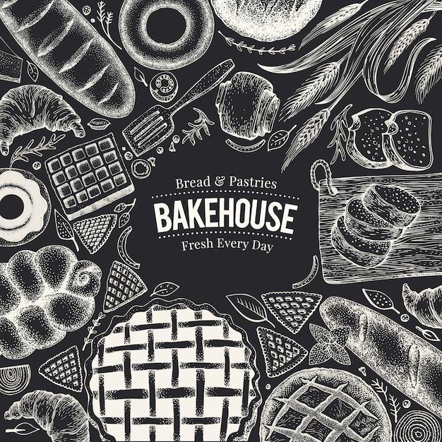 Quadro da opinião superior da padaria na placa de giz. mão desenhada ilustração vetorial com pão e pastelaria Vetor Premium