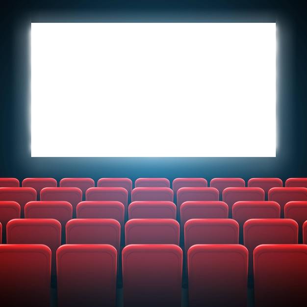 Quadro da tela do cinema do filme e interior do teatro. Vetor Premium