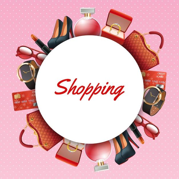 Quadro de acessórios de compras Vetor grátis