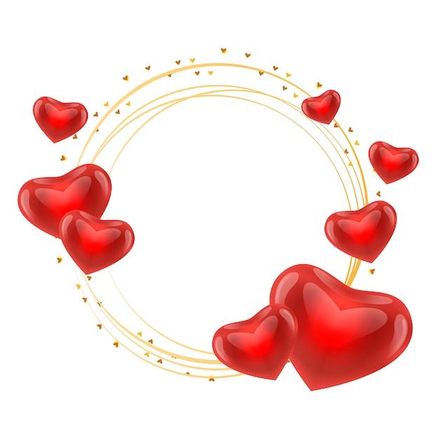 Quadro de amor com vetor de círculo de ouro de corações Vetor Premium