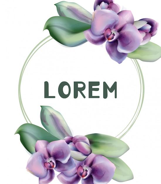 Quadro de aquarela de flores de orquídea Vetor Premium