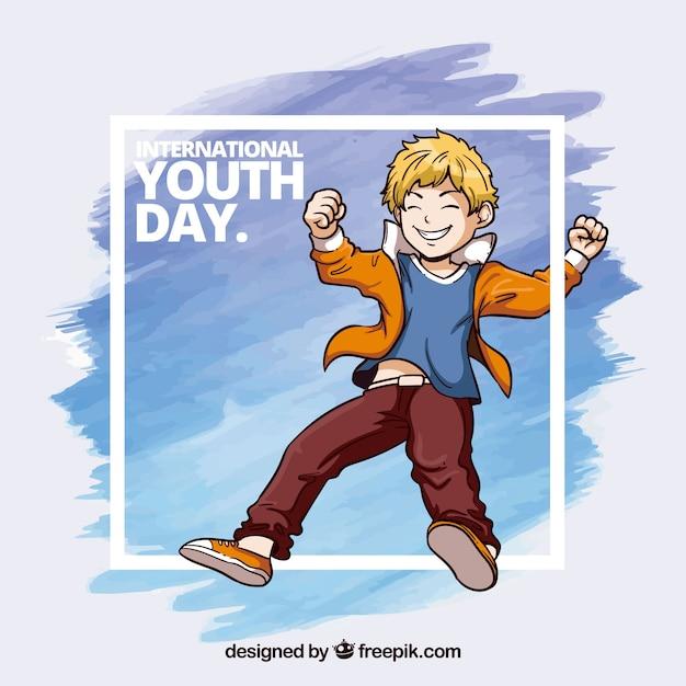 Quadro de aquarela dia da juventude com pinceladas de aquarela e menino Vetor grátis