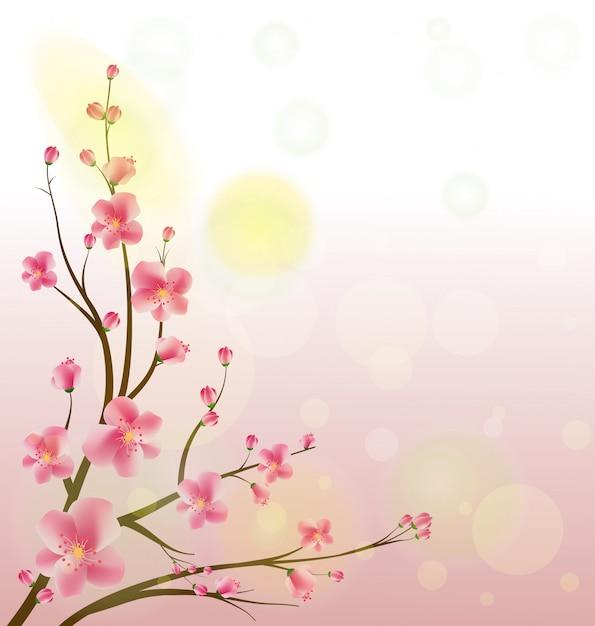 Quadro de aquarela sakura. fundo com ramos de cerejeira flor. Vetor Premium