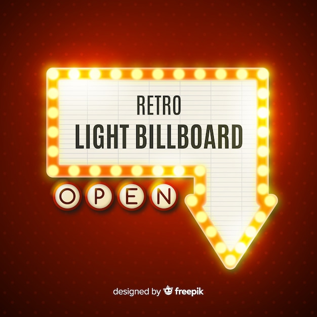Quadro de avisos de luz realista vintage Vetor grátis