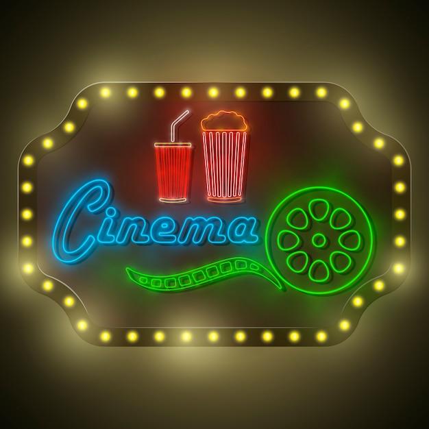 Quadro de avisos retro do cinema colorido de néon. Vetor Premium