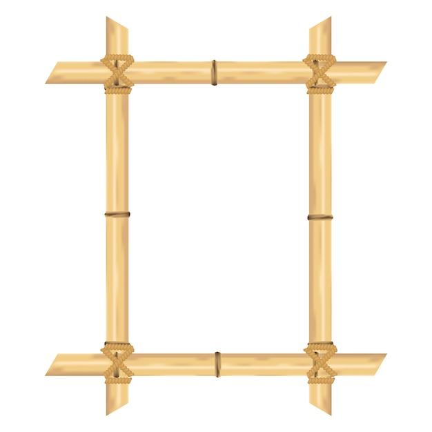 Quadro de bambu realista isolado no branco. ilustrações vetoriais. Vetor Premium