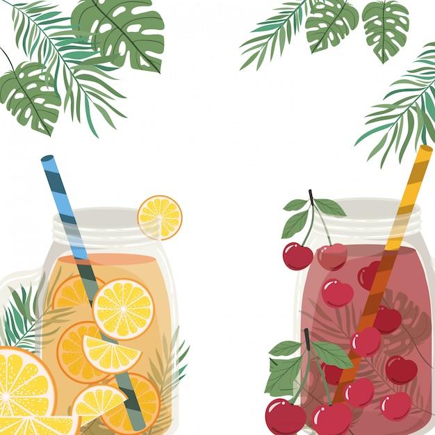 Quadro de bebida refrescante para o verão Vetor grátis