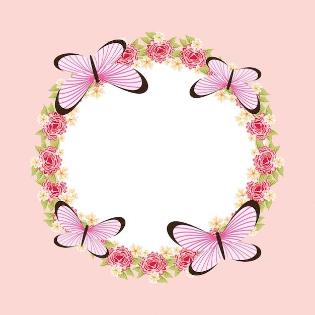 Quadro de borboleta linda Vetor grátis