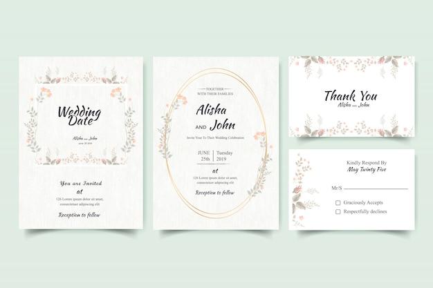 Quadro de cartão de convite de casamento moderno floral Vetor Premium