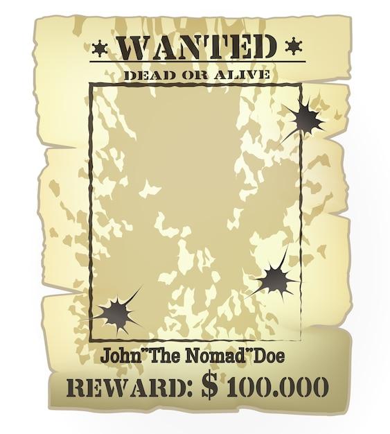 Quadro de cartaz de procurado ocidental vintage de vetor com buracos de bala Vetor grátis