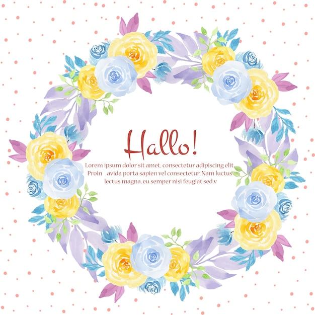 Quadro de casamento floral aquarela Vetor Premium