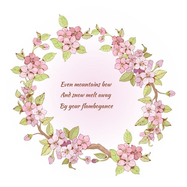 Quadro de cerejeira com poema Vetor grátis