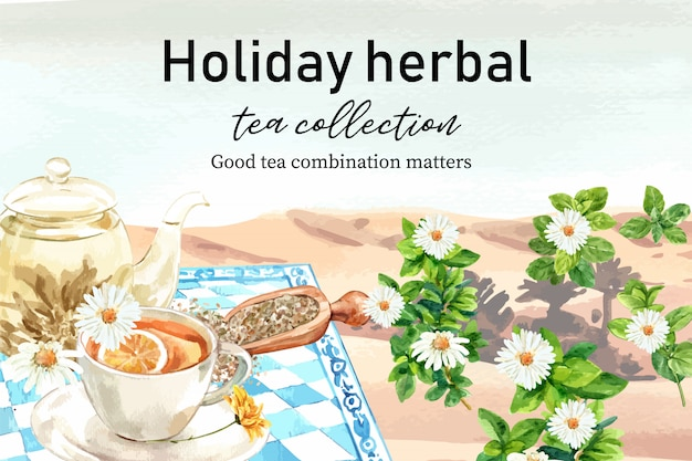 Quadro de chá de ervas com lago, camomila, ilustração de aquarela de pote de chá. Vetor grátis