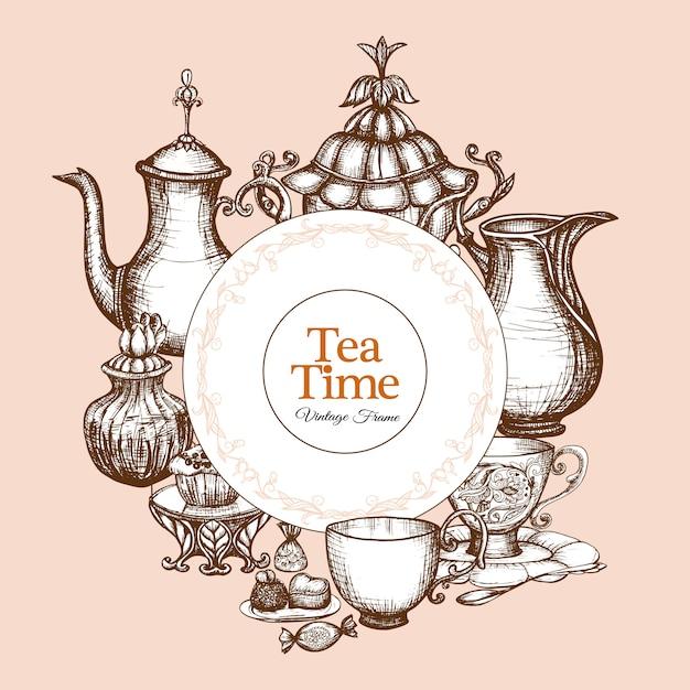 Quadro de chá vintage Vetor grátis