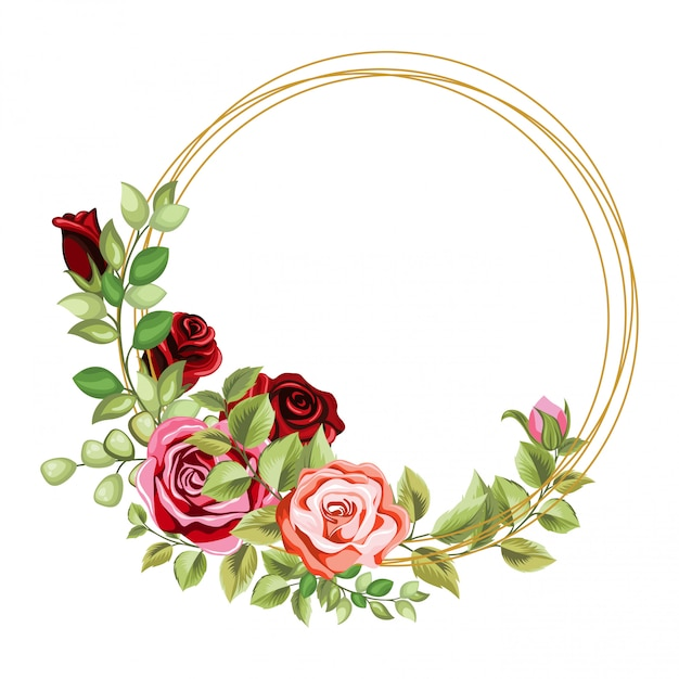 Quadro de círculo decorativo com floral e deixa o ornamento Vetor Premium