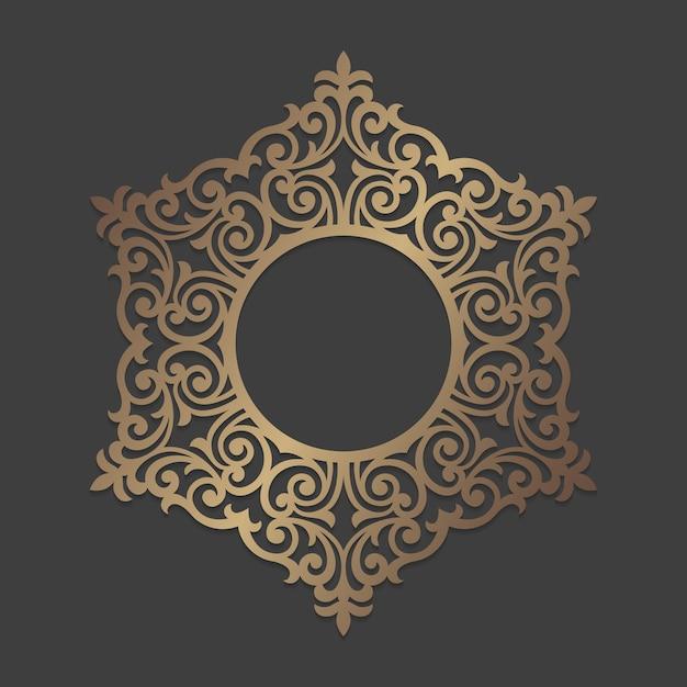 Quadro de círculo ornamentado. padrão de ornamento redondo de mandala. padrão de silhueta circular para corte a laser ou máquinas de corte e vinco. molde oriental do decalque de madeira. Vetor Premium