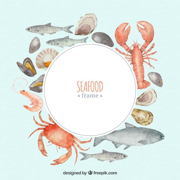 Quadro de comida com frutos do mar Vetor grátis