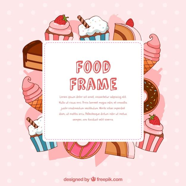 Quadro de comida com sobremesas de mão desenhada Vetor grátis