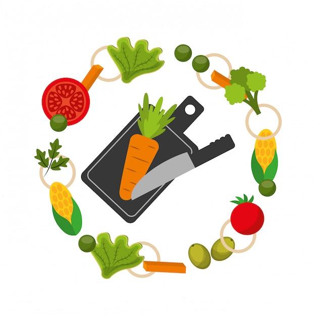 Quadro de comida saudável Vetor grátis
