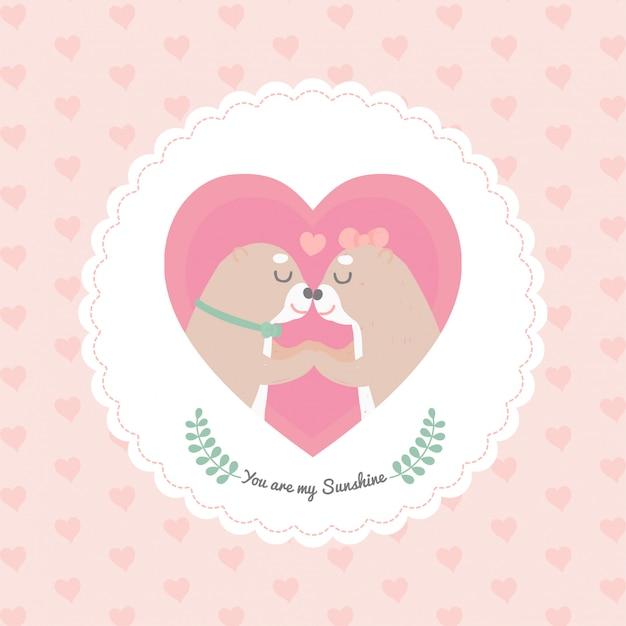 Quadro de coração de lontra bonito dos desenhos animados Vetor Premium