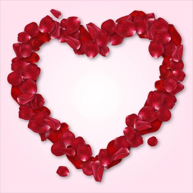 Quadro de coração de pétala de rosa vermelha para seus entes queridos, cartão de casamento, desejos dos namorados, presente de aniversário Vetor Premium