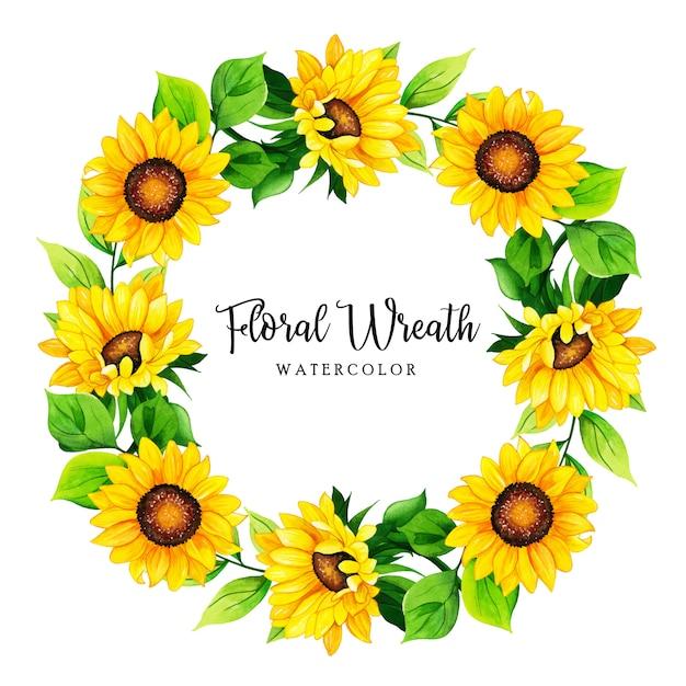 Quadro de coroa de flores em aquarela Vetor Premium