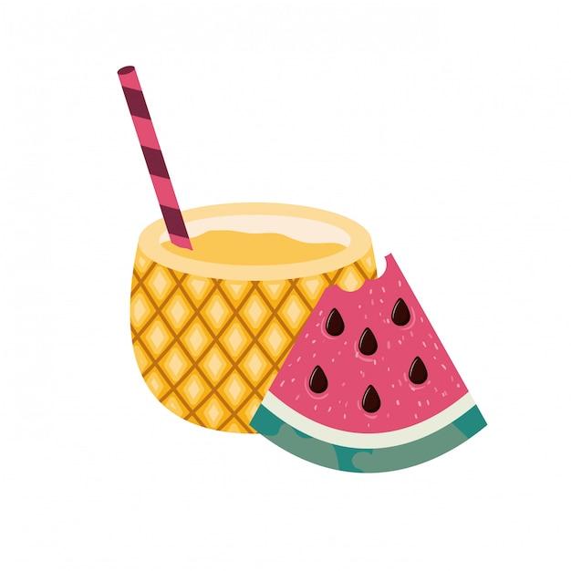 Quadro de deliciosas frutas tropicais Vetor grátis