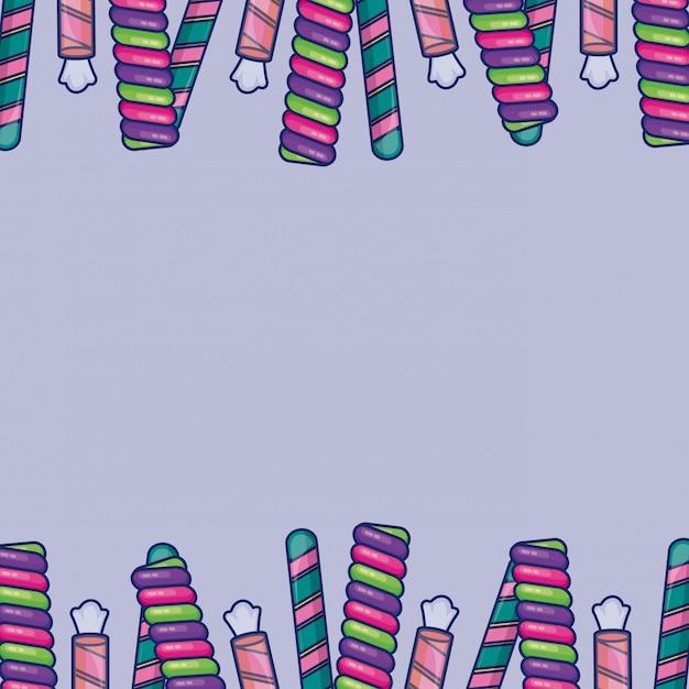 Quadro de doces doces em quadro de barras Vetor grátis