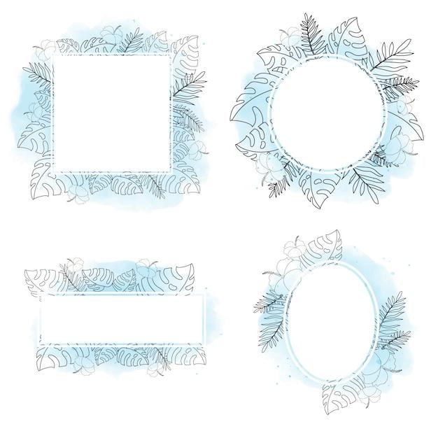 Quadro de doodle de flor tropical de verão Vetor Premium