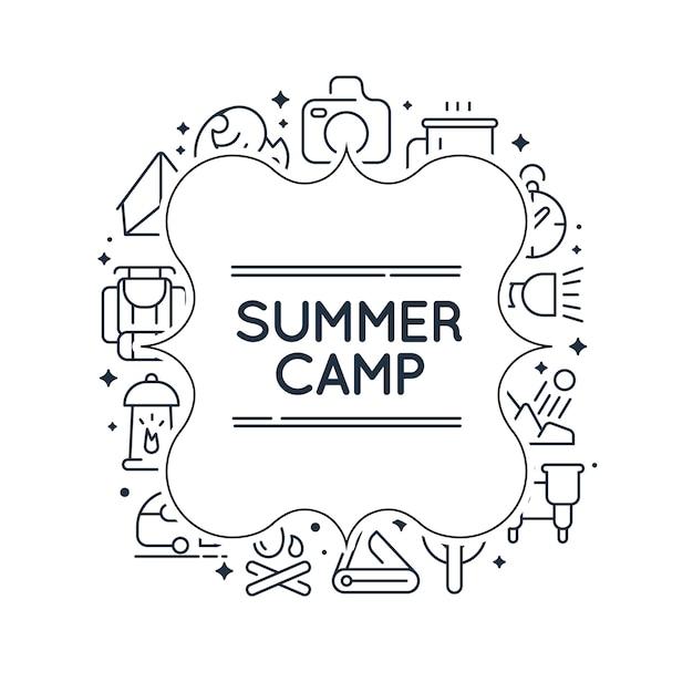 Quadro de doodle estiloso monocromático com imagens de churrasco, chá, equipamentos e muitos outros objetos em branco Vetor grátis