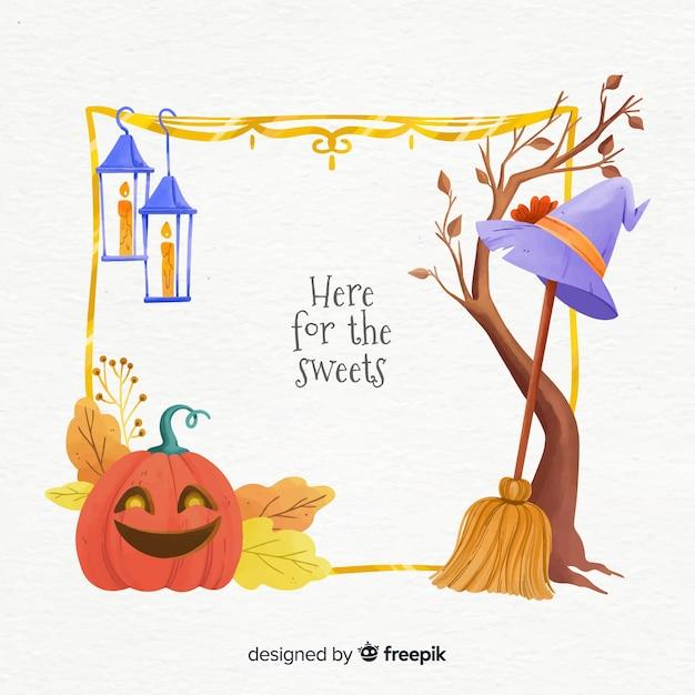 Quadro de elementos de bruxa halloween Vetor grátis