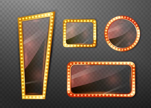 Quadro de espelhos de círculo e retângulo Vetor Premium