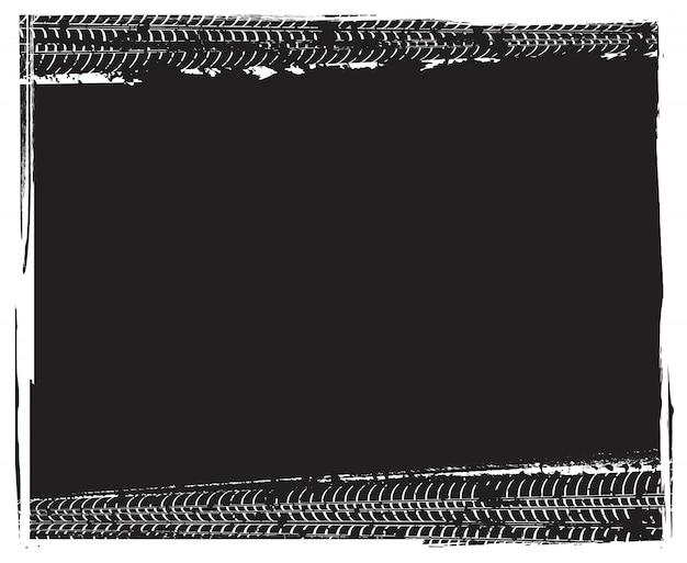 Quadro de faixas de pneu de grunge Vetor Premium