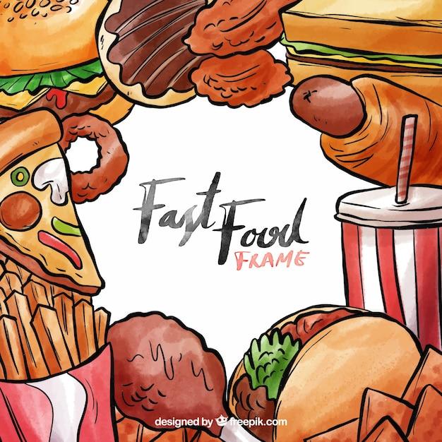 Quadro de fast-food de aquarela Vetor grátis