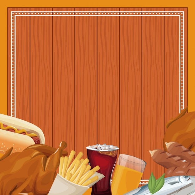 Quadro de fast-food sobre fundo de madeira Vetor Premium