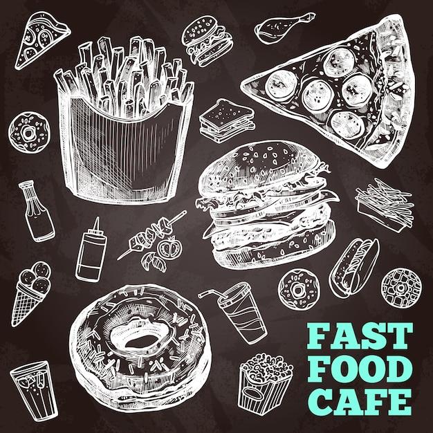 Quadro de fast food Vetor grátis
