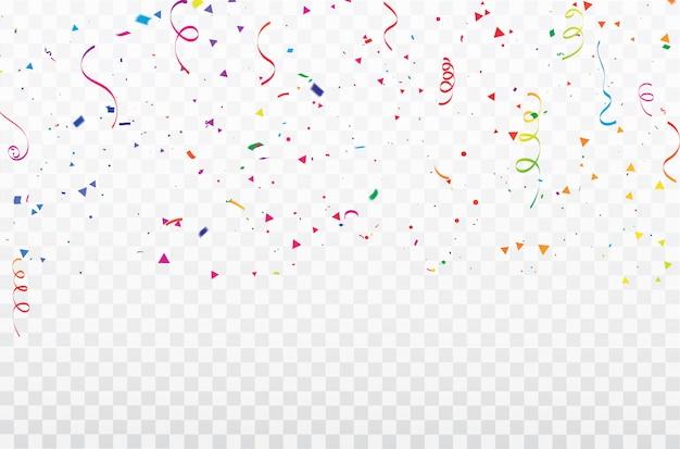 Quadro de fitas de confetes de celebração. Vetor Premium