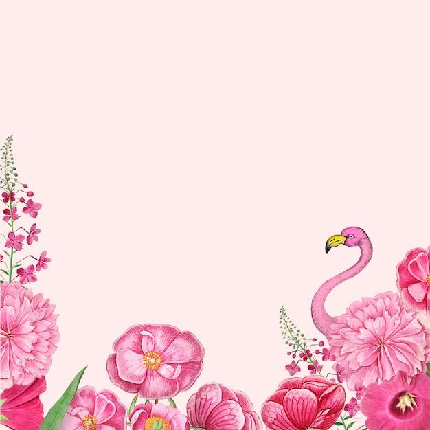 Quadro de flamingo rosa floral Vetor grátis