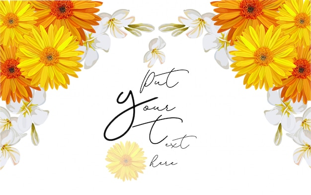 Quadro de flor amarela cosmo para ilustração vetorial de texto Vetor Premium
