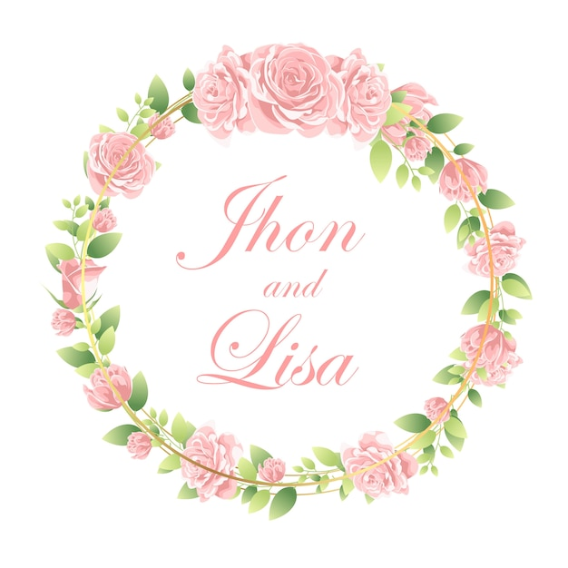 Quadro de flor bonita para casamento Vetor Premium