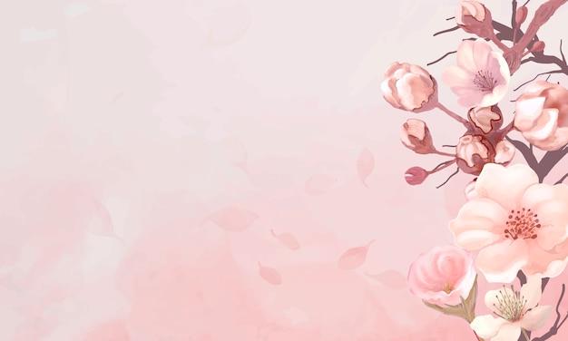 Quadro de flor de cerejeira Vetor grátis