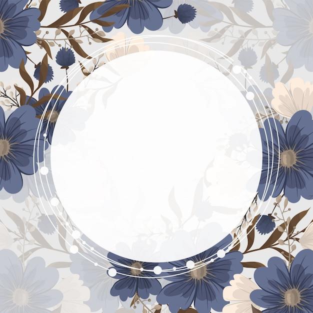 Quadro de flor de primavera - flor azul Vetor grátis
