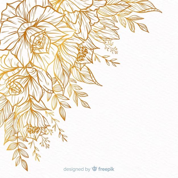 Quadro de flor decorativa desenhada de mão Vetor grátis