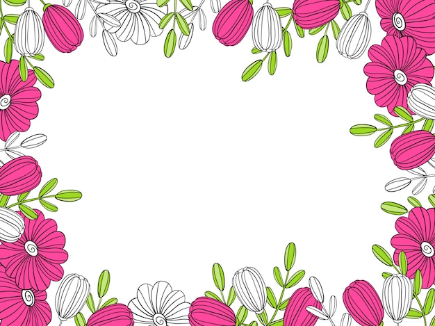 Quadro de flor. elemento decorativo para decoração Vetor Premium