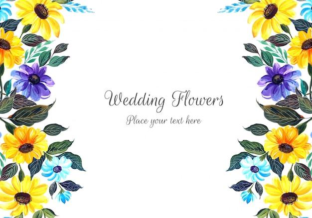 Quadro de flores coloridas de casamento Vetor grátis