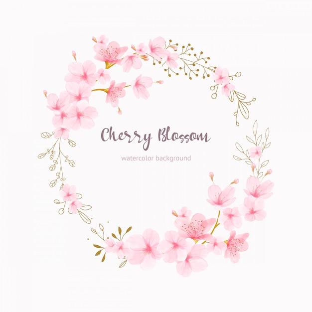 Quadro de flores de cerejeira floral aquarela Vetor Premium