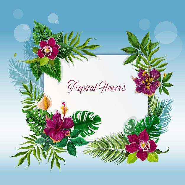 Quadro de flores e folhas tropicais Vetor grátis
