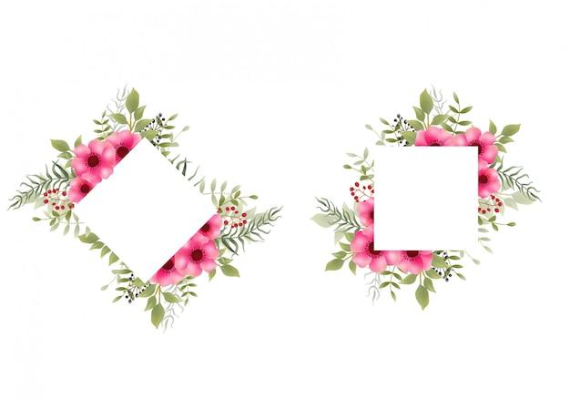 Quadro de flores em aquarela Vetor Premium