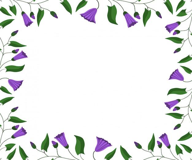 Quadro de flores. flores e folhas da trepadeira do campo. Vetor Premium